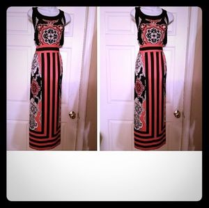 coral&black striped jersey knit maxi dress